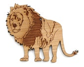 African Lion Ornament  - Made in the USA with sustainably harvested wood! - Timber Green Woods.