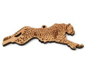 Running Cheetah Ornament - Timber Green Woods. Sustainable Harvest Wood. Made in the USA!
