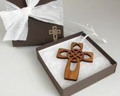 Reduced Price!!  Four Apostles Cross - Celtic Knot Wood Cross Ornament Gift Box Set