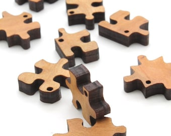 """Mini Wooden Puzzle Piece Beads - 3/4 """" - With Holes or Without Holes - Laser Cut Wood - Etsy Itsies by Timber Green Woods"""