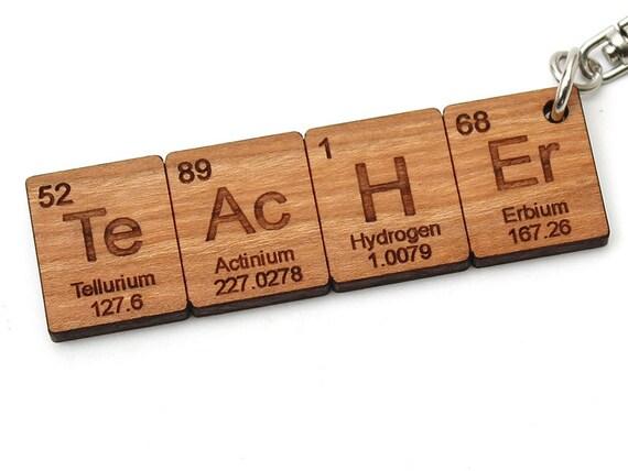 Teacher periodic table keychain great science teacher gift urtaz Images