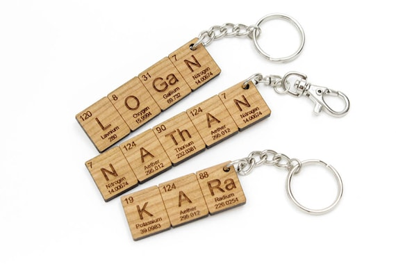 Custom name periodic table chemistry keychain cool science or urtaz Gallery