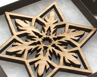 Close-Out Sale!  Wood Christmas Ornament Laser Cut Snowflake Design made from Wisconsin hardwoods - Timber Green Woods