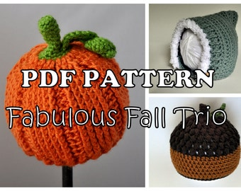 PDF PATTERNS - Fabulous Fall Trio Crochet Hats