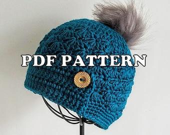 Classy Crochet Pom Pom Button Hat