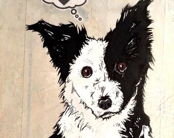Border Collie - 8x10 Art Print - Love - Dog