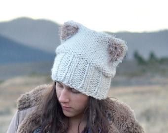 Furry Cat Ears Knit Hat