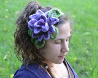 Purple Princess Flower Felted Headband