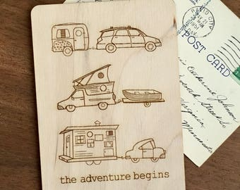 Tiny House Wood Postcard, Tiny Houses, Adventure Begins, Wood Card