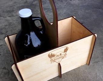 Wood Growler Carrier, Beer Growler Tote, Engraved Bear Logo