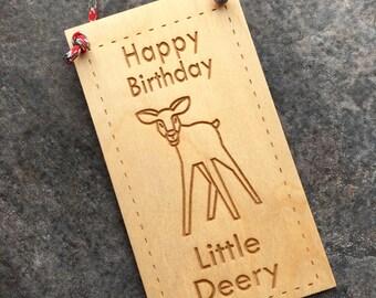 Gift Bag Tag, Woodland Birthday Card, Girl Birthday Card, Little Deer, Wood Door Hanger