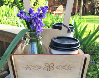 Coffee To Go Tote / Mother's Day Gift / Coffee Carrier / Coffee Lover Gift / Bridesmaid Gift