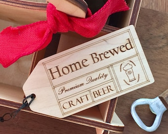 Home Brew Label / Craft Beer Gift Tag / Home Brewer Gift / Beer Geek Gift / Engraved Wood Tag / Brew Your Own Beer