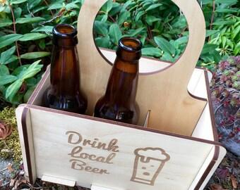 Wood Six Pack, Beer Carrier, Beer Tote, Home Brewing, Craft Beer Gift, Drink Local Beer