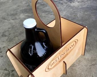 Wood Growler Carrier / Beer Growler Tote / Bellingham Wa / Growler Holder / Personalized Beer Caddy