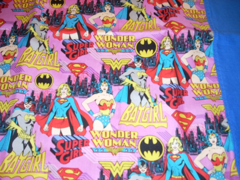 Wonder Woman Free Shipping Fits Standard and Queen size pillows Female Superheroes Cotton Pillowcase with blue trim -Supergirl Batgirl