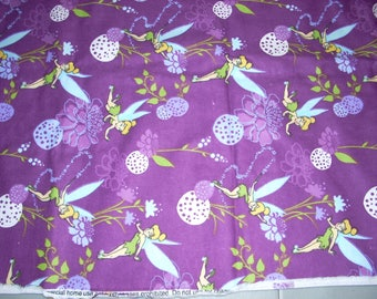 """Tinker Bell  on purple -  Flannel Fabric 31"""" long and 42"""" wide"""