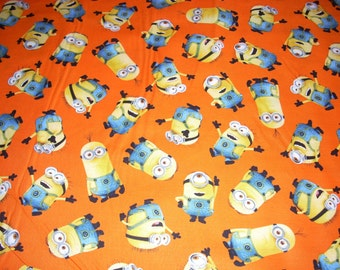 "Minions on orange - 1 in a Minion - by Quilting Treasures - Character Fabric - cotton fabric  -  44"" wide - sold by the yard"
