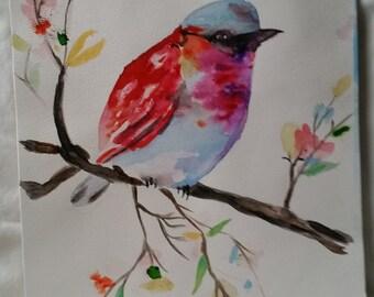 Finch coloré Original aquarelle Art mural, bureau, maison, 11 x 14