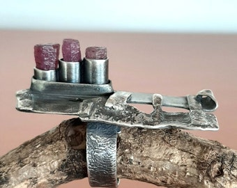 tribalgallery Artisan chunky oxidized sterling silver /& Ruby bold industrial statement brutalist raw silver ring