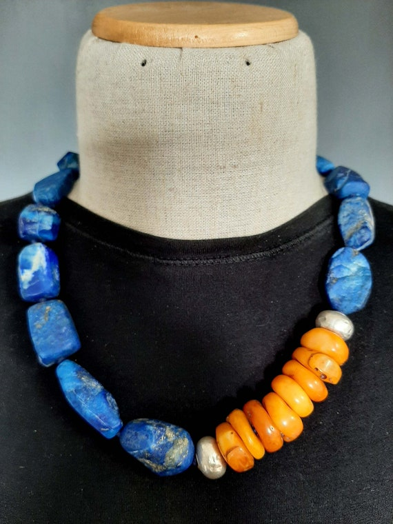 Lapis and Amber Beaded Necklace Mexican Amber Chunky