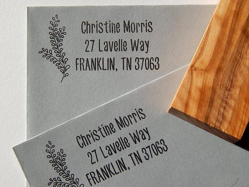 Elegant Foliage Return Address Olive Wood Stamp