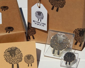 Dotty Sheep Stamps -  Wool  - Yarn - Knitting - Olive Wood or Acrylic Block Mounted - Unmounted