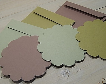 10 x Quality Large Round Scallop Recycled Flat Cards Using Natural Raw Material By-Products 3 Colour Choices