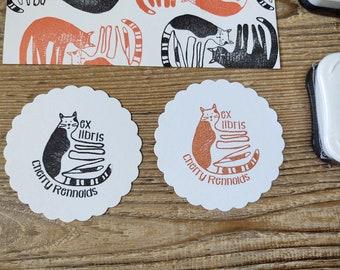 Fun Cat Ex Libris Stamp - Cat Stamp - Library Stamp - Teacher Book Stamp - Rubber Stamp - Name Stamp - Personalised Stamp - Cat Gift - Books