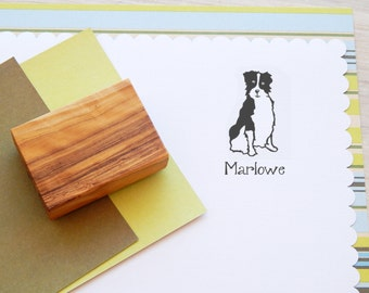 Australian Shepherd Ink Stamp - Rubber Stamp - Dog Stamp - Name Stamp - Personalized - Large Dog Breed