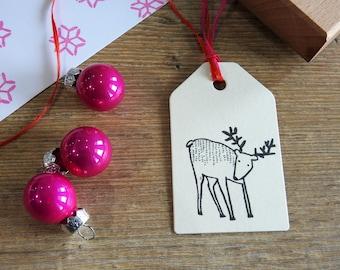Winter Reindeer- Christmas Stamp -  Christmas Gift Stamp - Holiday Stamp - Christmas Card Stamp