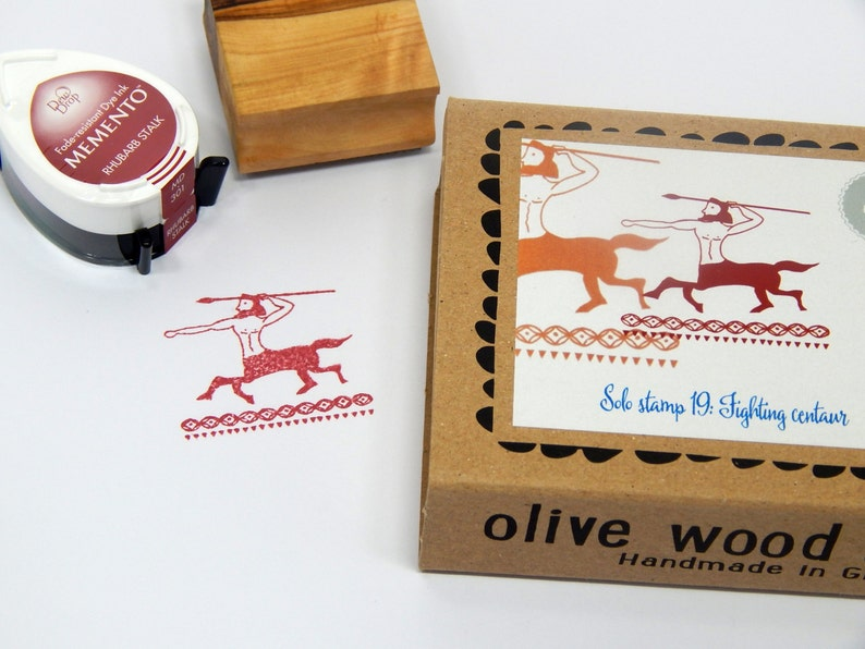 Fighting Centaur Boxed Greece Inspired Olive Wood Stamp and Ink Pad