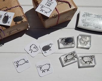 Cheeky Sheep Stamps - Knitting - Yarn - Wool - Olive Wood or Acrylic Block Mounted - Unmounted