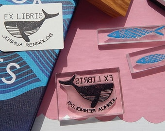 Humpback Whale - Ex Libris - Olive Wood Stamp- Book Library Stamp - Teacher Book Stamp - Rubber Stamp - Name Stamp -  Personalised Stamp