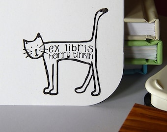 Cheeky Cat Ex Libris Olive Wood Stamp