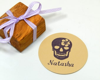 Custom  Skull with a Tropical Twist Olive Wood Stamp