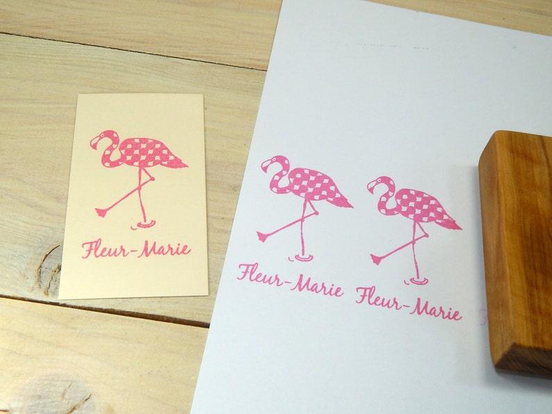 Custom Fancy Flamingo Olive Wood Stamp