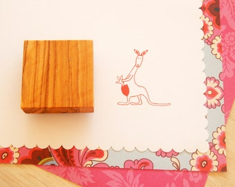 Kangaroo Mummy and Baby Olive Wood Stamp