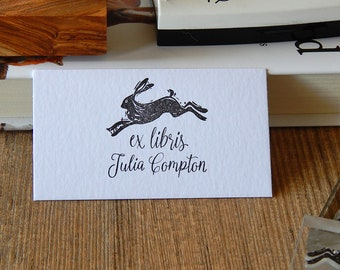 Linocut Hare Ex Libris Stamp - Hare Stamp - Rubber Stamp - Name Stamp - Personalised Stamp - Lino Stamp - Gift for Her