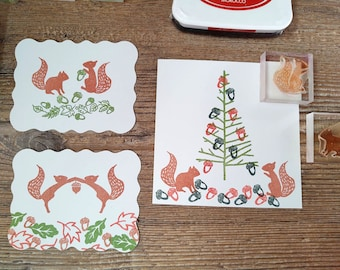 Squirrels Winter Woodland -  Christmas Stamps - Rubber Stamp -  Christmas Gift Stamp - Holiday Stamp - Christmas Card Stamp - Squirrel Lover