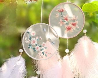 Flower Dreamcatcher, beautiful hand embroidered dreamcatcher necklace.