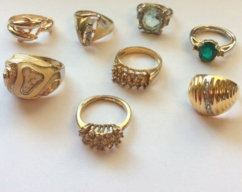 Lot of Vintage Rings Lot of 8 Costume Jewelry Rings