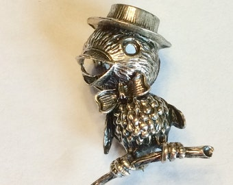 Vintage Sterling Silver Brooch. Bird Pin Sterling Jewelart Jewelry