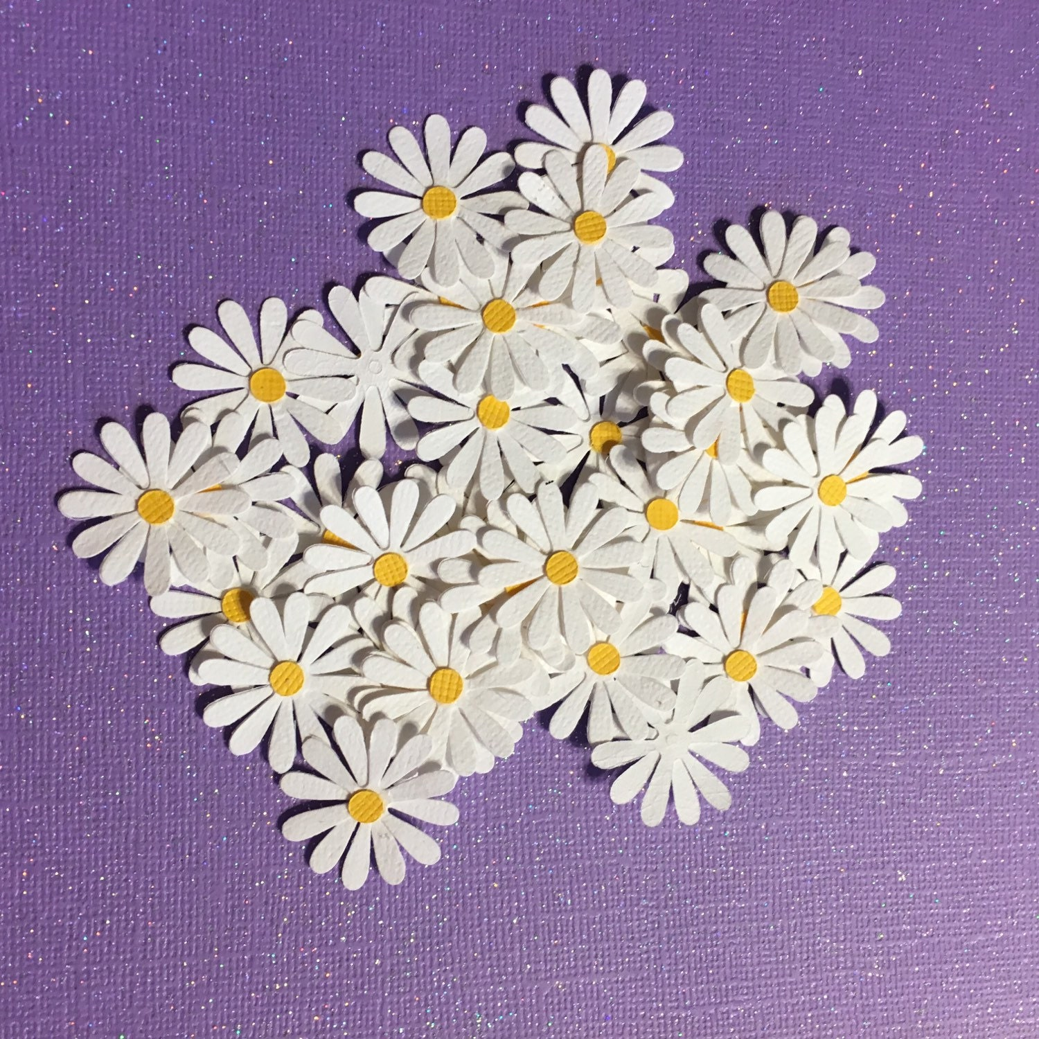 Pretty White Daisy Flower Die Cuts Set Of 24 Etsy