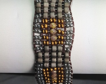 Woven Bracelet in Pewter and Bronze