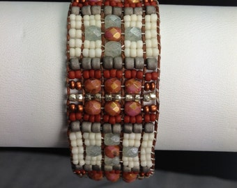 Woven Bracelet in Rust, Cream and Pale Blue