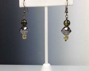 Agate and Glass Earrings