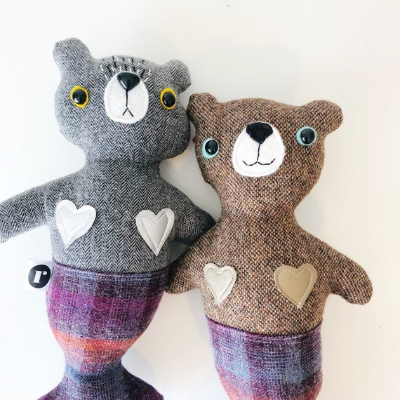 Stuffed Bear Furrmaid in Purple Plaid - READY TO SHIP
