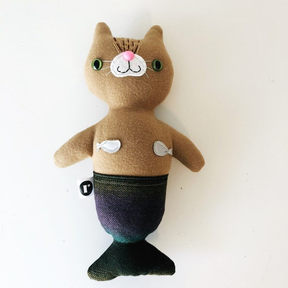 Stuffed Cat Purrmaid in Tan - READY TO SHIP