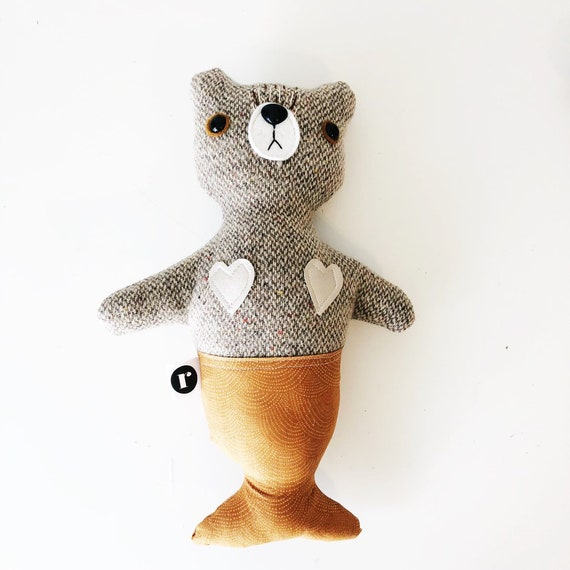 Stuffed Bear Furrmaid in Speckled Wool - READY TO SHIP
